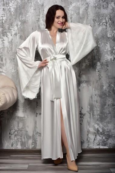 Изысканный длинный халат с кружевной...